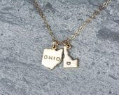 Three State Necklace, Gold, DOUBLE Dipped Chain