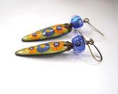 Green Enamel Earrings, Elongated Earrings, Glittering Lampwork Glass Earrings, Floral Earrings, Orange Earrings, Sparkling Dichroic Earrings