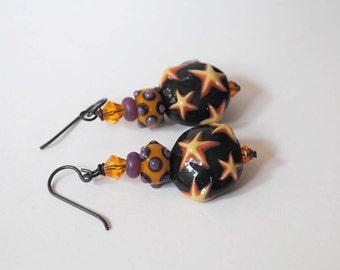 Star Earrings, Ceramic Earrings, Lampwork Glass Earrings, Orange Earrings, Purple Earrings,