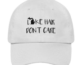 Michigan Lake Hair Hat - Lake Hair Don't Care - 6 Panel, Cap, Lid - Made in the USA - White, Tan - 100% Cotton - Created by Braymont Designs