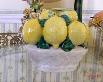 Vintage Italian Capodimonte Majolica Basket of Lemons Tuscan Farmhouse
