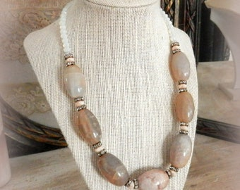 Dragon's Blush. Dragon Vein Agate Bead Statement Necklace