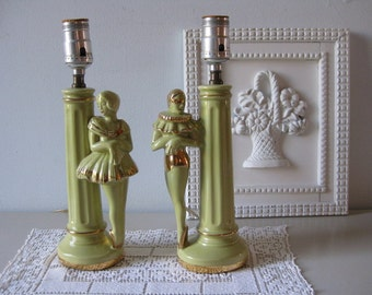 Vintage 1940s ballerina lamp pair His and hers nightstand lamps