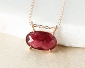 Wine Red Tourmaline Necklace, Tourmaline Connector Necklace, Sideway Necklace