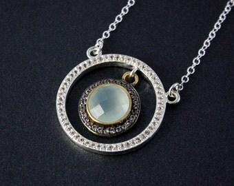 Silver Aqua Chalcedony Necklace - Blue Chalcedony - Pave Diamonds