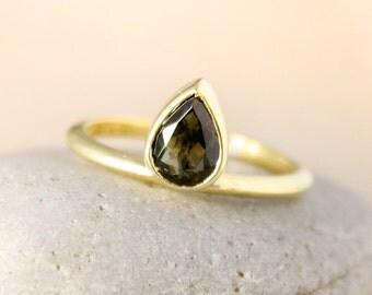 Black Tourmaline Teardrop Ring, Natural Tourmaline, Black Tourmaline, Choose Your Setting