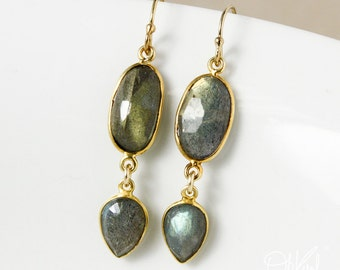 Gold Midnight Blue Labradorite Earrings - Free Form Labradorite - 14Kt GF