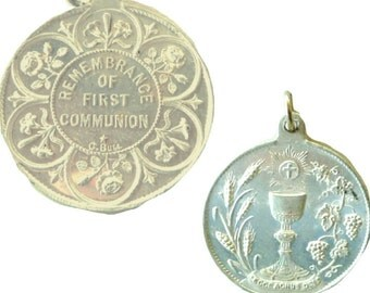 Medal - First Holy Communion - Religious - Catholic - Christian - Jewelry - Pendant - Remembrance - Mid Century - 50s - Chalice - Cross