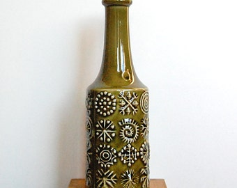 Vintage Ceramic Green Bottle Vase Totem Mid Century Pattern 1960s by Portmeirion Pottery