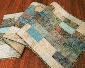 Batik Quilted Table Runner in Blue Green and Brown, Quilted Batik Table Topper, Quilted Tablecloth, Beach Table Runner, Quiltsy Handmade