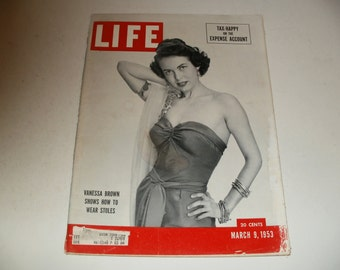 Vintage Life Magazine March 9 1953 - Vanessa Brown Cover - Art, Vintage Ads, Scrapbooking, Paper Ephemera