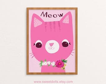 Meow pink cat, nursery wall art, cute wall art for baby