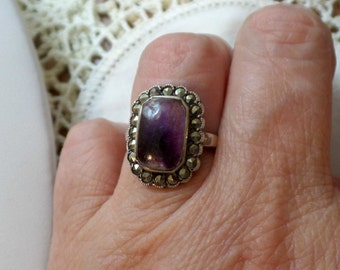 Antique Art Deco Sterling Silver Natural Amethyst Marcasite Ring Size 5