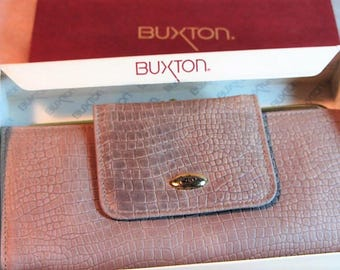 Womens Vintage Buxton Wallet Still Boxed Like New, Large Womens Wallet, Buxton Wallet, Tan Buxton Purse, Coin Purse, Money Purse Womens