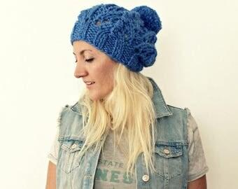 Sale Blue Pompom Beanie . Womens Pom Pom Hat . Hand Knit Slouchy Beanie . Pom Pom Tam Hat . Cable Knit Hats . Knitted Hat . Chunky Knit Hat