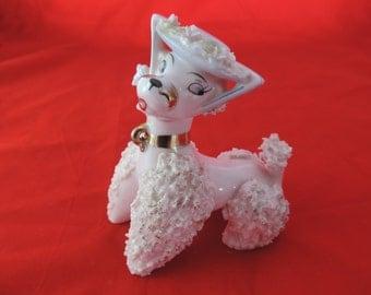 pink poodle figurine 50s spaghetti poodle dog figure Japan shelf sitter