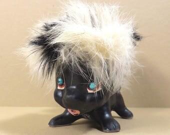 Kreiss Kitschy Skunk Vintage 1950s 1960s Mid Century Wild and Furry Ceramic Skunk Figurine