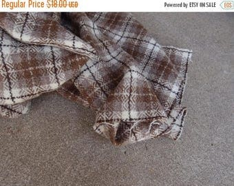 SALE SALE SALE Vintage Fabric Wool Plaid Tartan Taupe Brown Cream Amazing Quality Sewing Supplies Yardage