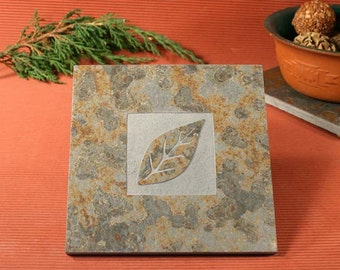 Slate Trivet / Hot Plate - Leaf Sandcarved on Copper Slate