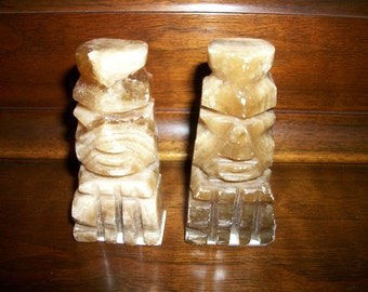 Chess Antique Hand carved figures brown pair  Bishops, rook    Aztec Mexican  Carved stone Onyx or MArble