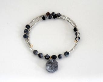 choker, beaded, modern,wrap style grey druzy necklace