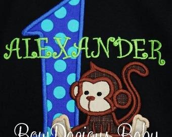 Boy's Monkey Birthday Shirt, Boy Monkey, Monkey Birthday Bodysuit, Birthday Monkey Shirt, Monkey 1st Birthday, Custom, Any Age, Any Colors