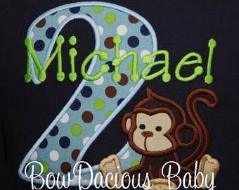 Personalized 2nd Birthday Monkey Birthday Shirt or Monkey Bodysuit - Made FOR ANY AGE- Monkey First Birthday Shirt, Custom Colors, Boy, Girl
