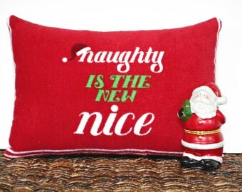 Naughty Christmas Pillow Accent Nice Red Lime Green White Santa Cap Decorative Repurposed