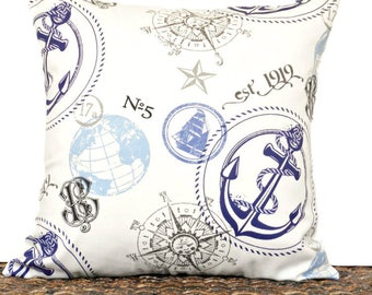 Nautical Pillow Cover Cushion Anchor Coastal Sailboat Compass Beige Navy Blue Gray Script Summer Decorative 18x18