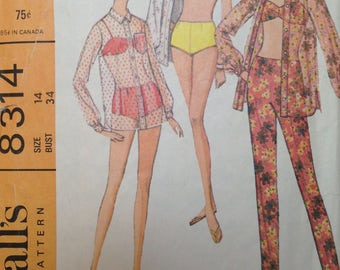 Vintage 60s Bikini Pattern 34 bust McCalls 8314 Cover Up Blouse No Pants