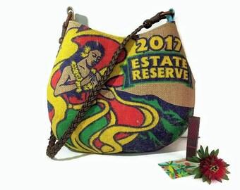 Hula Girl. New Design For Spring. Mini-Bell Hobo Handbag. Shoulder Bag. Burlap, Repurposed Kauai Coffee Company Bag. Handmade in Hawaii.