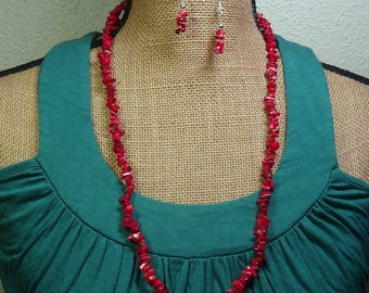 Natural AAA Grade Red Coral chips, 925 Silver Necklace and Earrings
