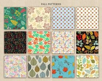 SALE! Digital Scrapbook Paper Pack - AUTUMN Patterns / Fall Leaves 12 patterns - Fall Patterns - Fall Scrapbook
