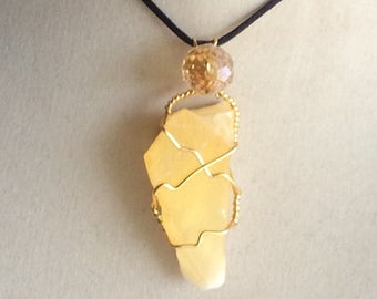 Wire Wrapped Pineapple Calcite Pendant