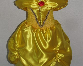 Belle beauty and the beast Inspired Costume Birthday girl toddler princess dress size 2 4 6 8
