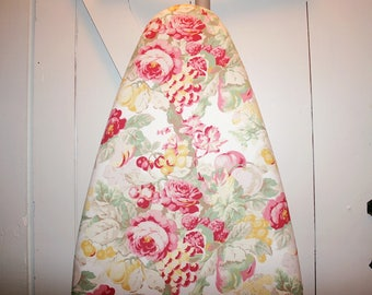 """Gorgeous Cottage Flowers Ironing Board Cover — Laura Ashley """"English Country"""" Floral Fabric — Gift Quality — Fits Boards to 18 Inches Wide"""