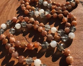 Moonstone mala, moonstone prayer beads