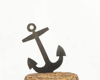 Vintage Brass Anchor Nautical Sign Ornament Assemblage Altered Art Scarpbook Craft Supply