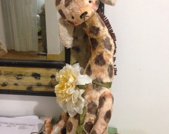 16 inch Artist Handmade Plush  Teddy Giraffe by Sasha Pokrass