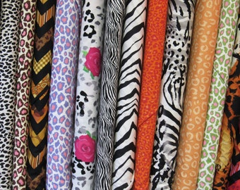 Animal Print/Jungle/Safari Fabric Fat Quarter Set of 12-All Kinds/Colors Jungle Related Prints for Quilts, CLothing, Tote Bags, Mixed Media