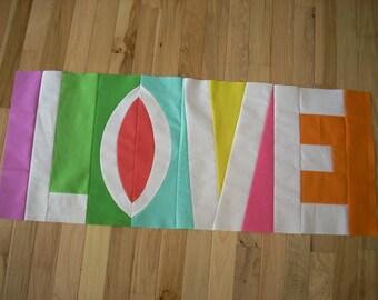Destash Sale - pieced LOVE in Kona solids - FREE SHIPPING