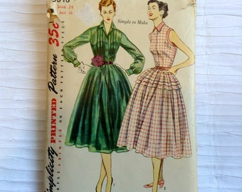 Vintage 1950 Day or Party Dress sewing pattern.   Simplicity.   Misses Size 14.   Bust size 32.  No. 3848.