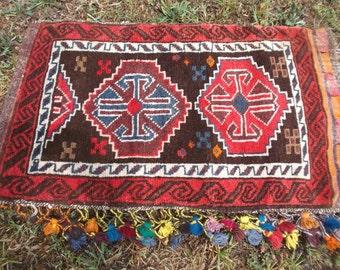 "SALE: Big beautiful Tasselled Tribal Khurjeen Saddle Bag. Hand Made. Kilim. Cushion/pillows. 34"" x 19"".   86 cm x 50 cm"