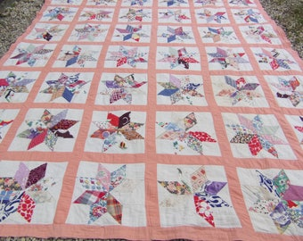 "Double Size Coral Pink Stars Patchwork Quilt Ralli Bed cover and cushions. Cotton. 7 ft 8"" x 6 ft 7""  235 x 201 cm"