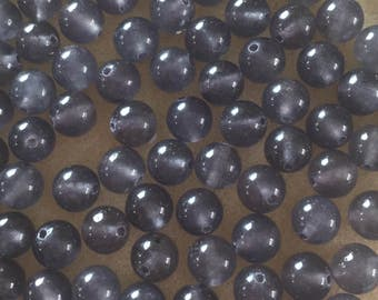 30 x 8mm grey dyed jade round beads