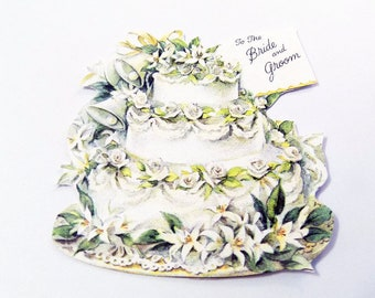 Wedding Cake Tags - Set of 3 - Retro Cake Tags - Wedding Tags - Gift Tags - White And Green - Bells And Flowers - Bridal Gift Tag -