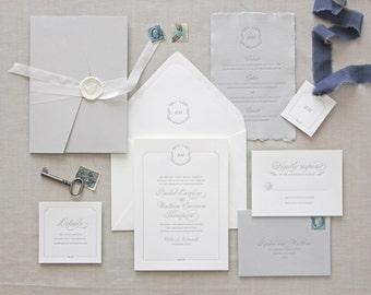 Florence Letterpress Wedding Invitation -Classic, Traditional, Flower, Calligraphy, Monogram, Script, Simple, Elegant, Custom, Formal