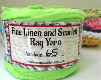 Rag yarn, Rug making, Fiber Arts supplies, Pistachio Green