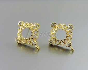 2 pcs / 1 pair shiny gold flower with clear crystal CZ post earrings, gold flower cubic zirconia earrings 2069-BG