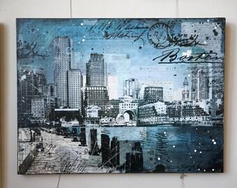 Harborwalk No. 12 | original Boston skyline painting | mixed media collage | Boston canvas art